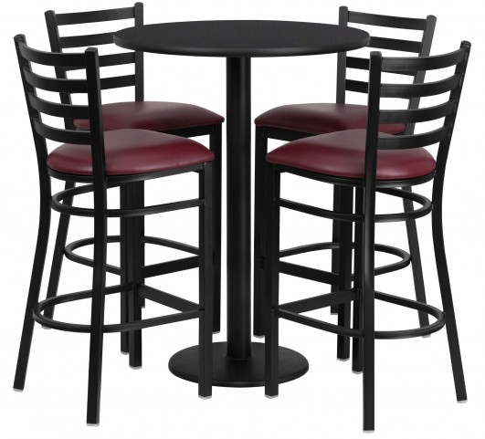 "30"" Round Black Table Set with 4 Ladder Back Burgundy Vinyl Bar Stools"