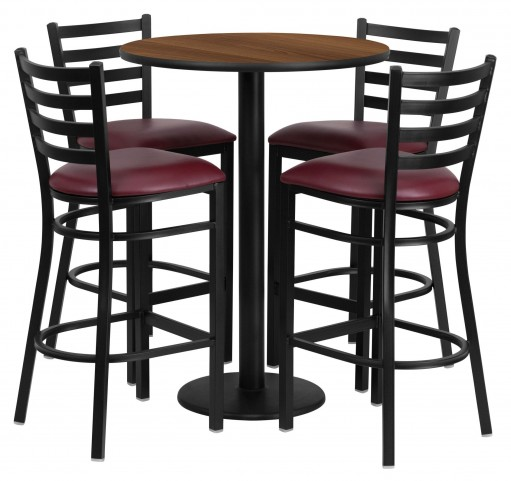 "30"" Round Walnut Table Set with 4 Ladder Back Burgundy Vinyl Bar Stools"