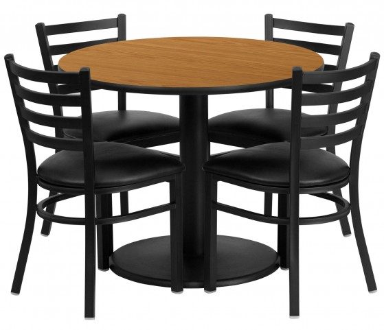 "36"" Round Natural Table Set with 4 Ladder Back Black Vinyl Chairs"