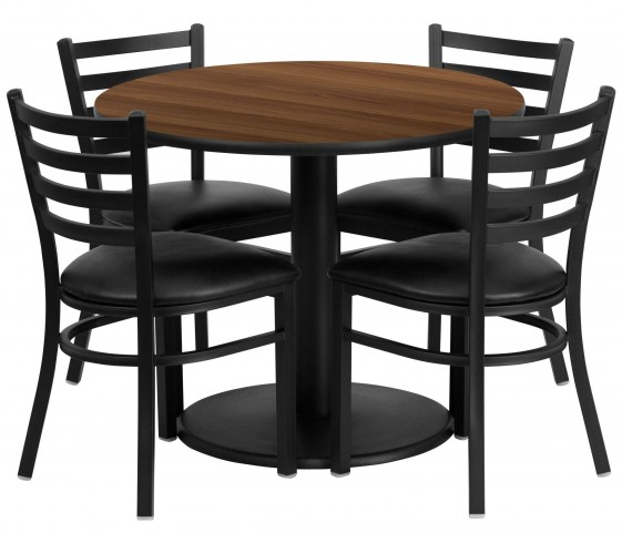 "36"" Round Walnut Table Set with 4 Ladder Back Metal Black Vinyl Chairs"