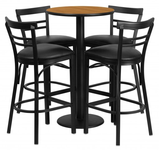 "24"" Round Natural Table Set with 4 Ladder Back Black Vinyl Bar Stools"