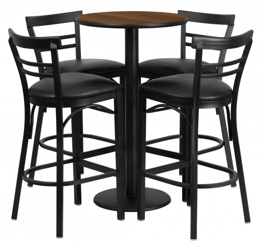 "24"" Round Walnut Table Set with 4 Ladder Back Black Vinyl Bar Stools"