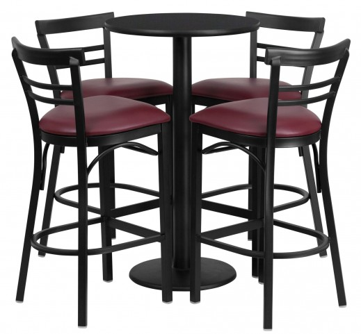 "24"" Round Black Table Set with 4 Ladder Back Burgundy Vinyl Bar Stools"