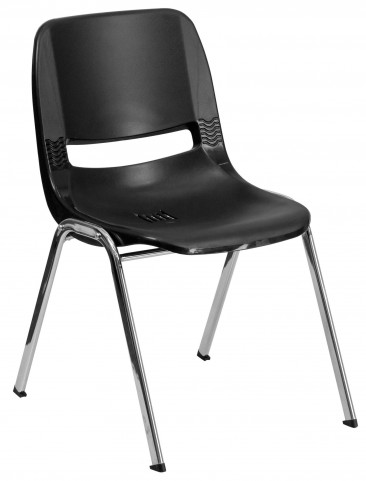 "Hercules Series Black 22"" Ergonomic Shell Stack Chair with Chrome Frame"