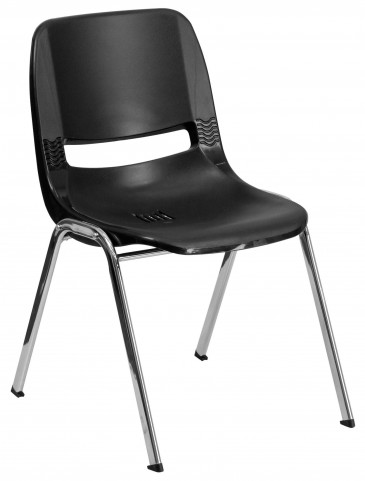 "Hercules Series Black 24.5"" Ergonomic Shell Stack Chair with Chrome Frame"