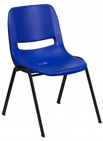 """Hercules Series Navy 29"""" Ergonomic Shell Stack Chair with Black Frame"""