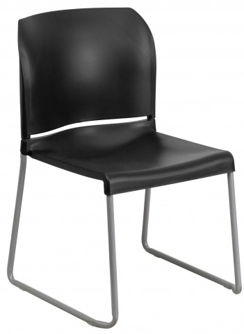 Hercules Series Black Full Back Contoured Stack Chair with Sled Base