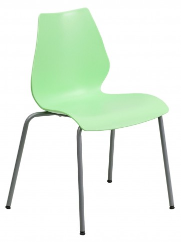 Hercules Series Green Stack Chair with Lumbar Support and Silver Frame