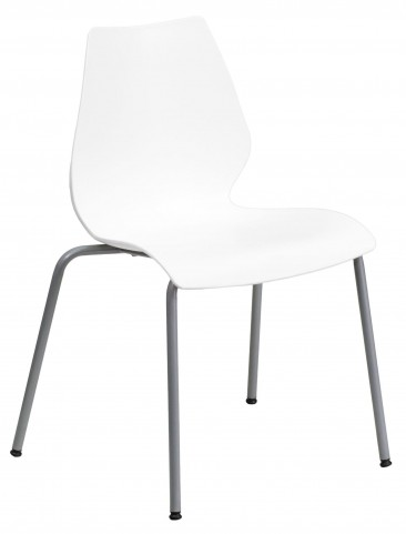 Hercules Series White Stack Chair with Lumbar Support and Silver Frame