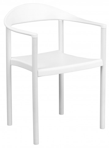 Hercules Series White Plastic Cafe Stack Chair