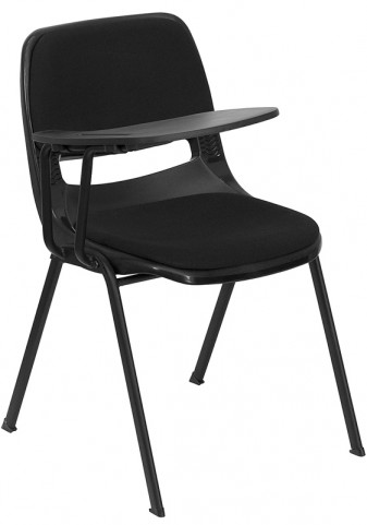 Padded Black Shell Chair with Right Handed Tablet Arm