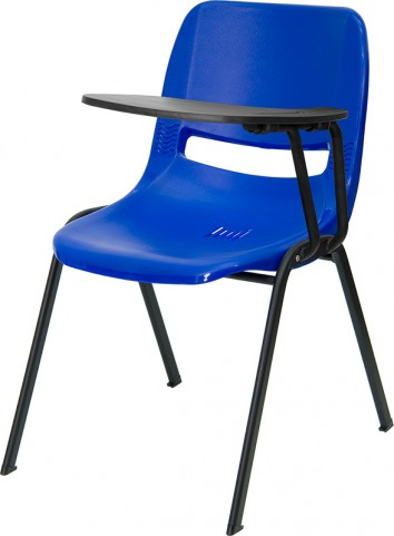 Blue Shell Chair with Left Handed Tablet Arm