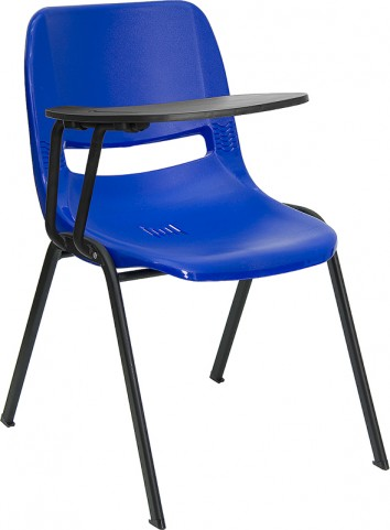 Blue Shell Chair with Right Handed Tablet Arm
