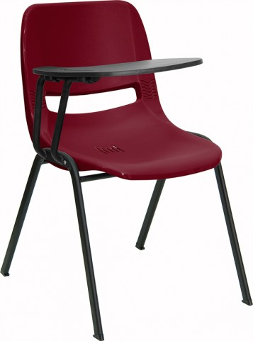 Burgundy Shell Chair with Right Handed Tablet Arm