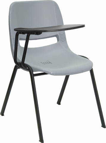 Gray Shell Chair with Right Handed Tablet Arm