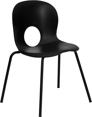 Hercules Designer Black Plastic Stack Chair with Black Coated Frame