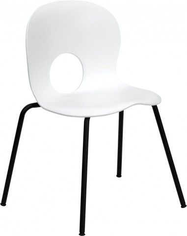 Hercules Designer White Plastic Stack Chair with Black Frame Finish