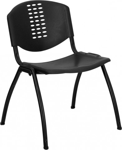 Hercules Black Polypropylene Stack Chair with Black Frame Finish