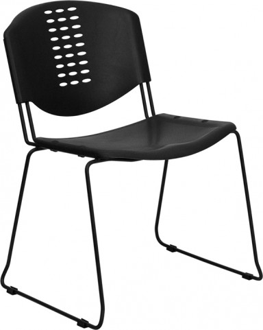 Hercules Black Plastic Stack Chair W/ Black Powder Coated Frame Finish