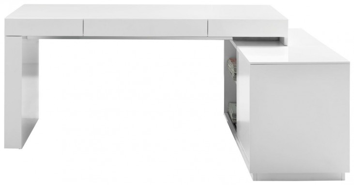 S005 White High Gloss Modern Office Desk