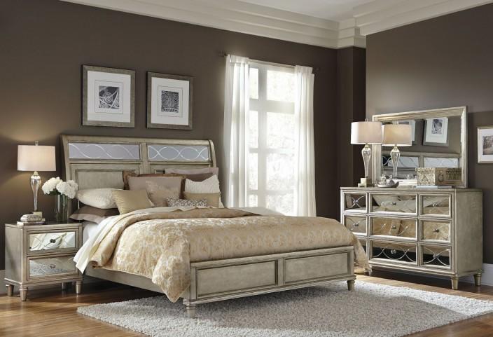Cut Glass Silver Panel Bedroom Set