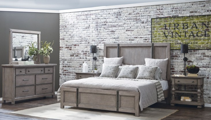 Prospect Hill Gray Panel Metal Strap Bedroom Set