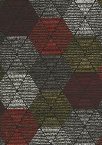 Safi Grey/Red Geometric Medium Rug