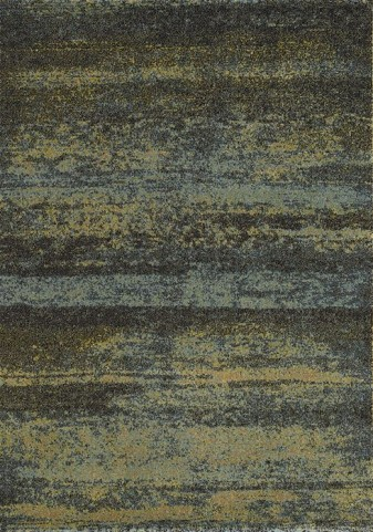 Safi Green and Grey Distressed Stripes Medium Rug