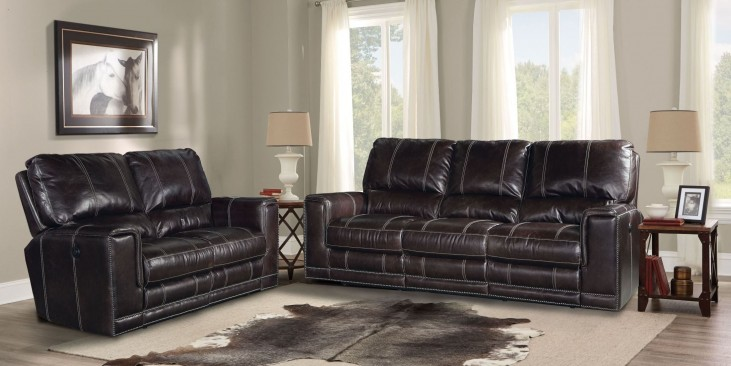 Salinger Sangria Dual Power Reclining Living Room Set