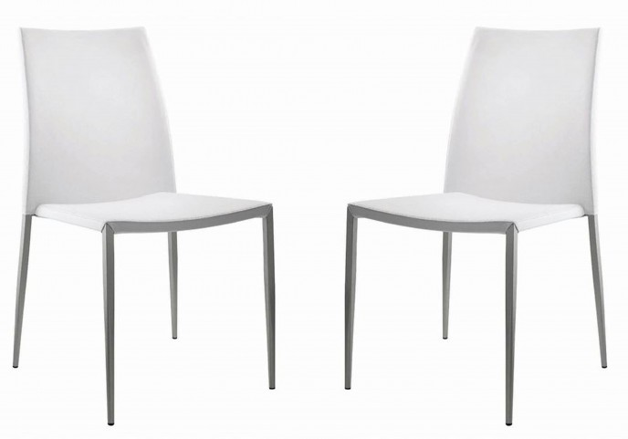 Sandra White Stackable Dining Chair Set of 2
