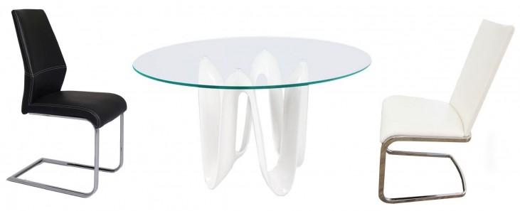 "Sapphire White 60"" Round Dining Room Set"