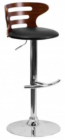 Walnut Bentwood Adjustable Black Vinyl BarStool with Cutout Slat Back