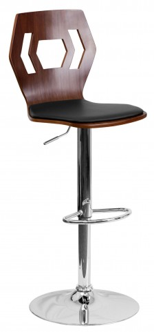 Walnut Bentwood Adjustable Black Vinyl BarStool with Cutout Hexagon Back
