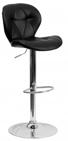 Tufted Black Adjustable Height Bar Stool with Chrome Base