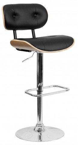 Bentwood Button Tufted Black Vinyl Adjustable Height Bar Stool