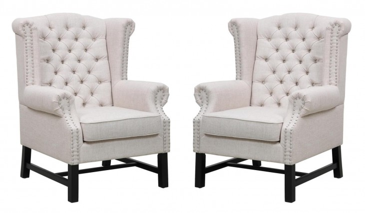Fairfield Beige Linen Club Chair Set of 2