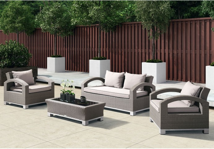 Bora Bora 4-Piece Gray Wicker Set with Taupe Cushions