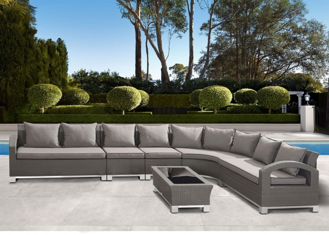 Bora Bora 6-Piece Gray Wicker Sectional Set with Taupe Cushions