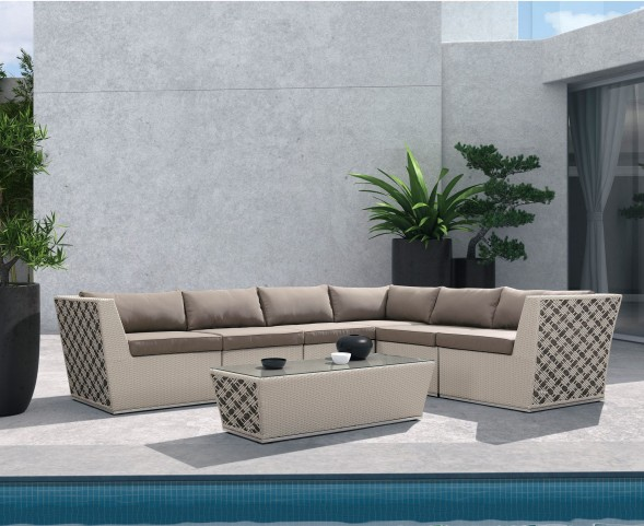 Waikiki 7-Piece Outdoor Wicker Sectional Set with Taupe Cushions