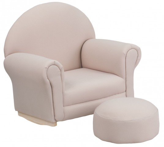 Kids Beige Rocker Chair and Footrest