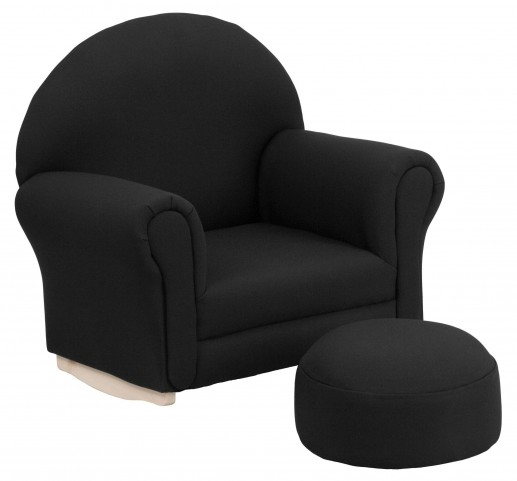 Kids Black Rocker Chair and Footrest