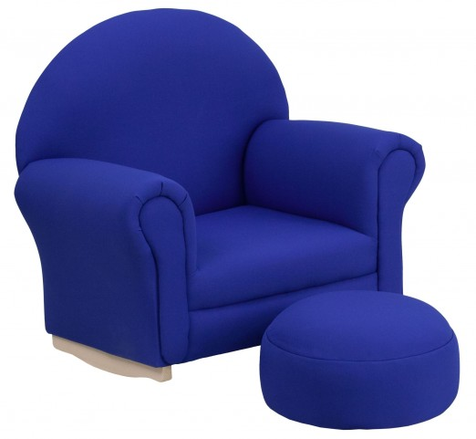 Kids Blue Rocker Chair and Footrest