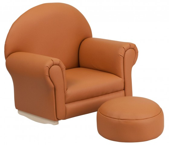 Kids Brown Rocker Chair and Footrest