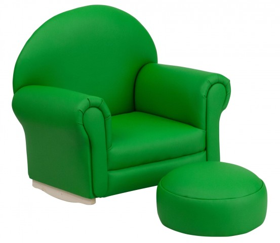 10001416 Kids Green Rocker Chair and Footrest