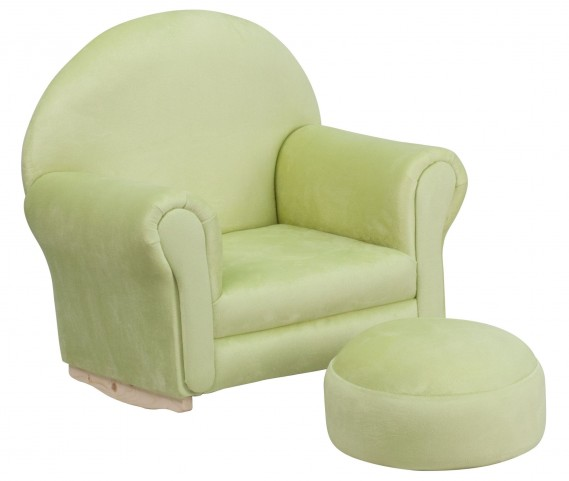10001417 Kids Green Rocker Chair and Footrest