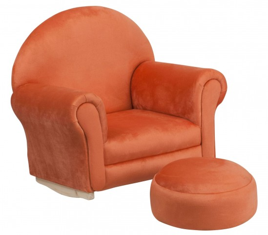 10001418 Kids Orange Rocker Chair and Footrest