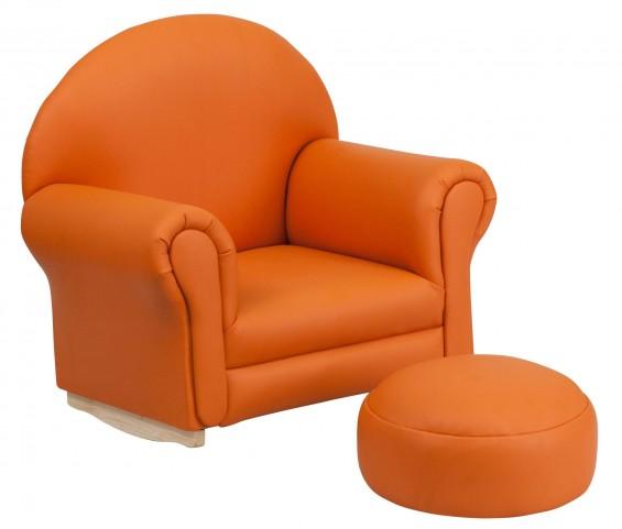 10001420 Kids Orange Rocker Chair and Footrest