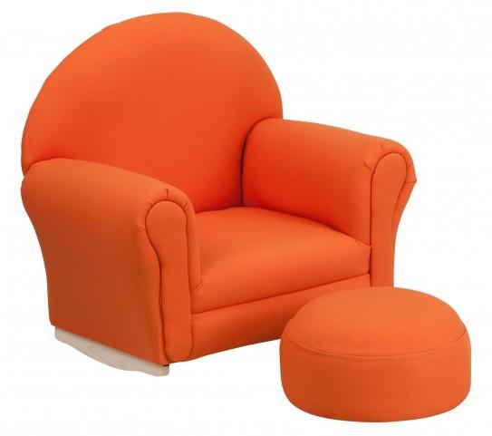 10001421 Kids Orange Rocker Chair and Footrest