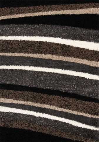 Shaggy Brown and Tan Stripes Rug