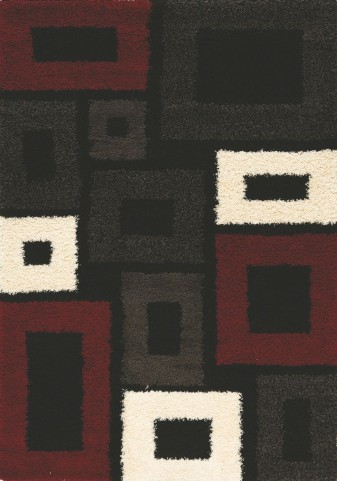 Shaggy Brown/Red Rectangles  Large Rug